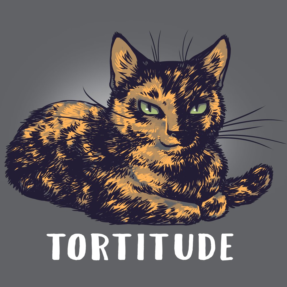 Tortitude T-shirt TeeTurtle gray t-shirt featuring a brown cat with shirt text