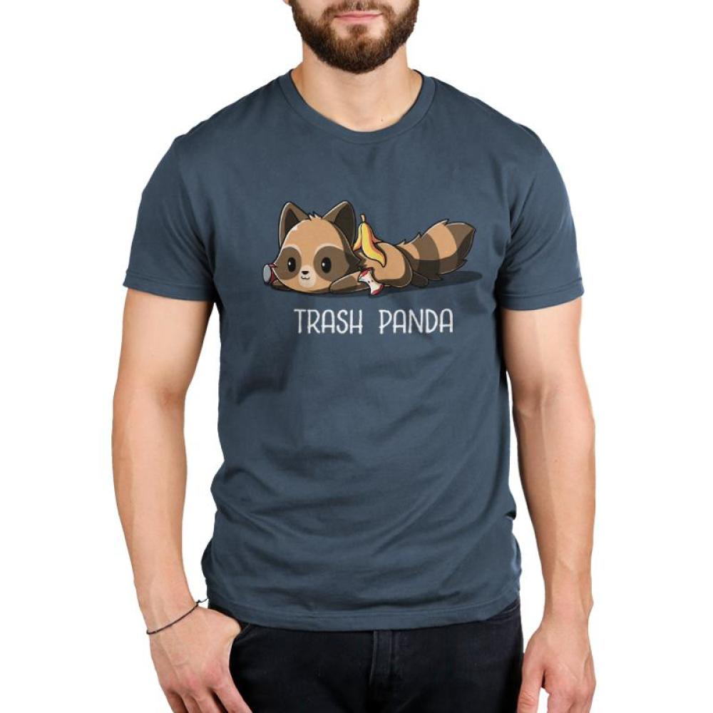Trash Panda Men's T-Shirt Model TeeTurtle Blue T-shirt featuring a raccoon with food scraps on top of him with shirt text