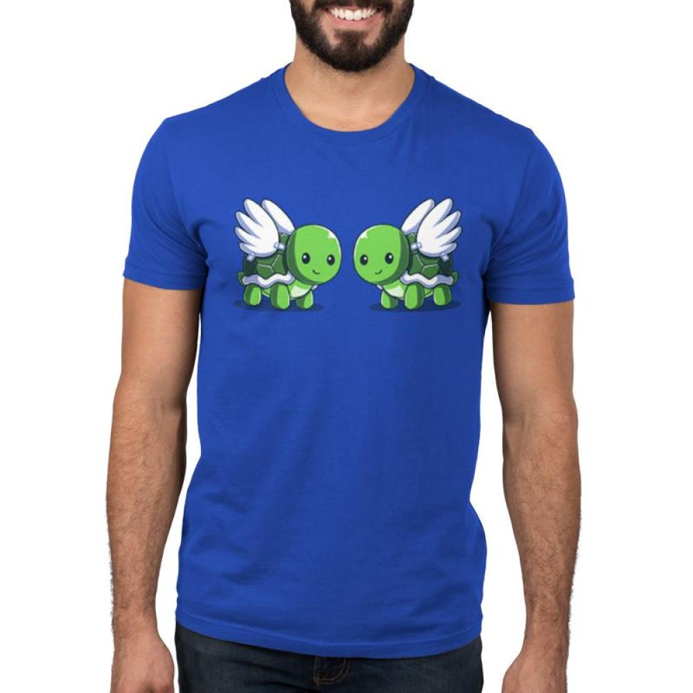 Turtle Doves Men's T-Shirt Model TeeTurtle Blue t-shirt featuring two turtles with wings, or turtle doves