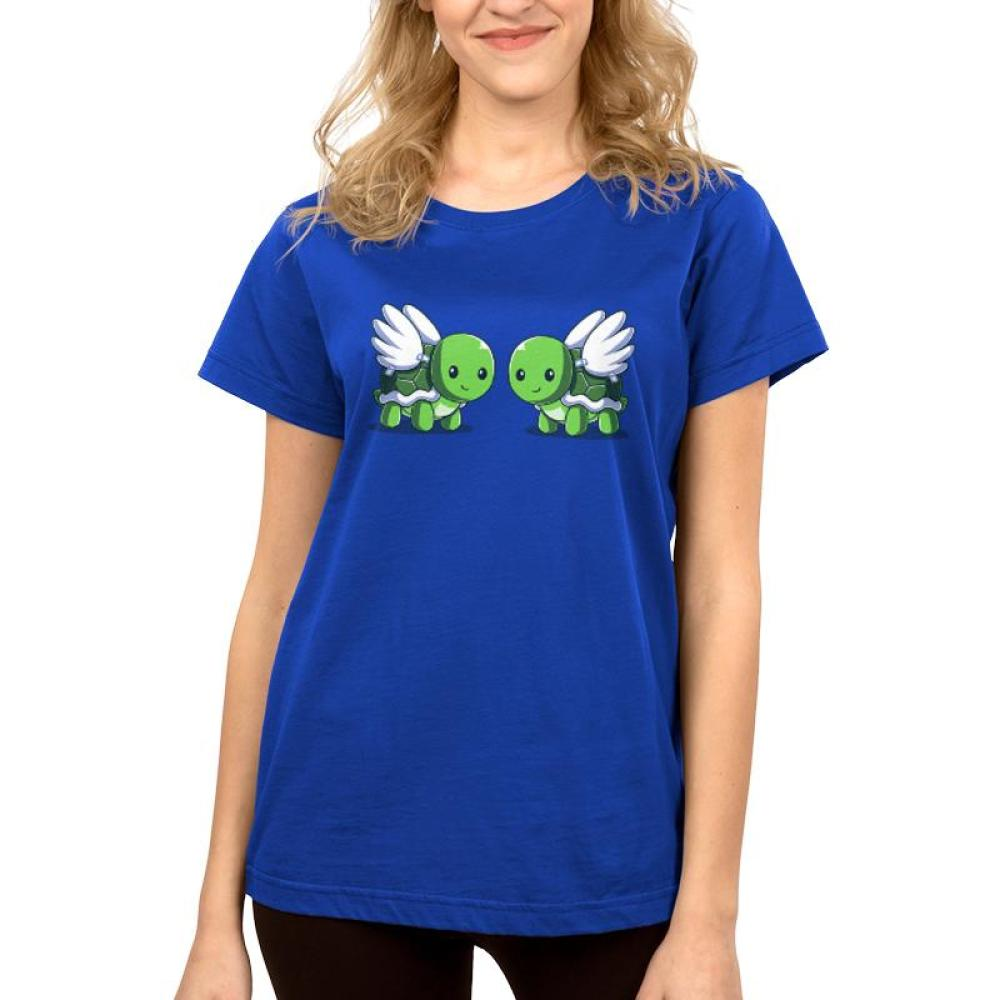 Turtle Doves Women's T-Shirt Model TeeTurtle Blue t-shirt featuring two turtles with wings, or turtle doves