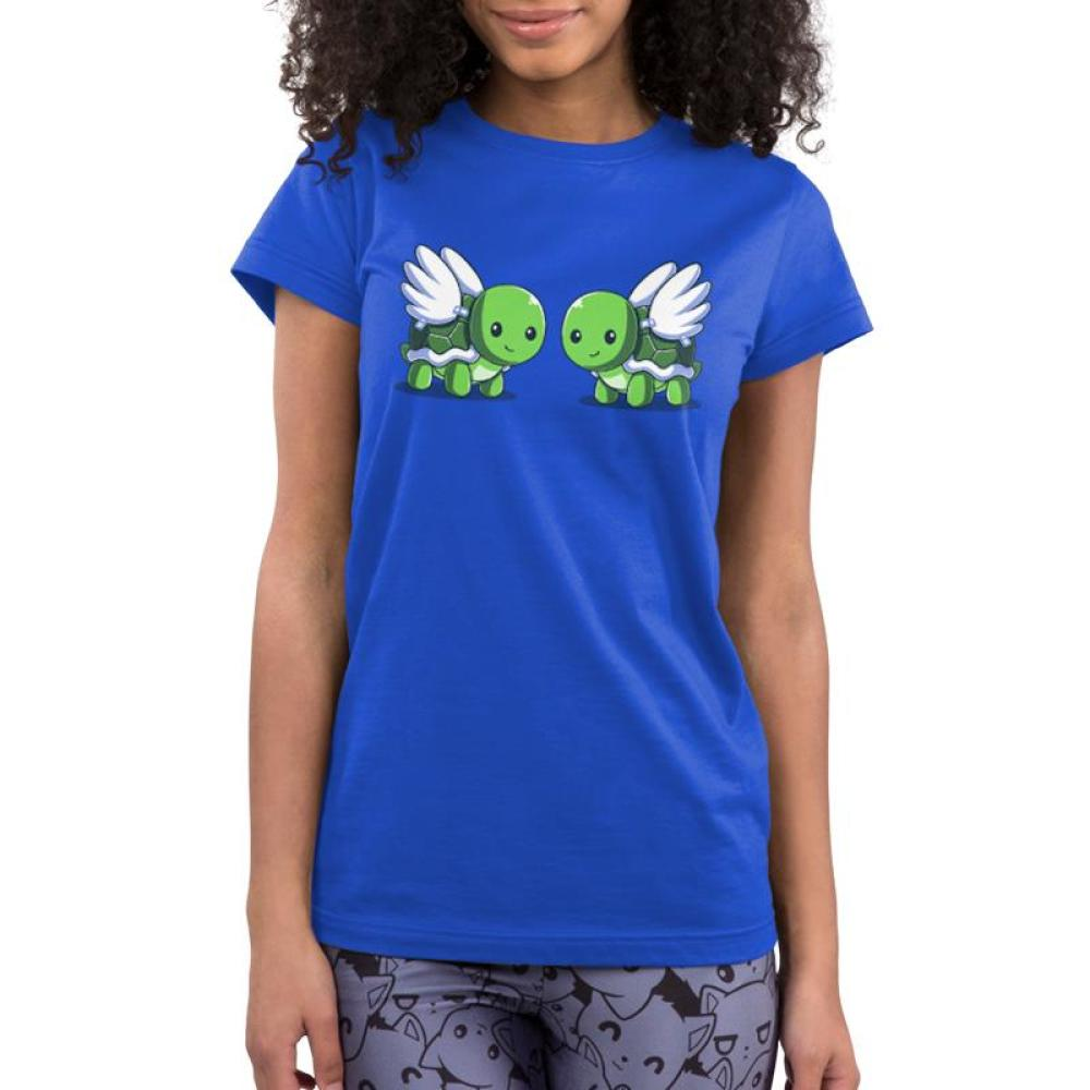 Turtle Doves Juniors T-Shirt Model TeeTurtle Blue t-shirt featuring two turtles with wings, or turtle doves