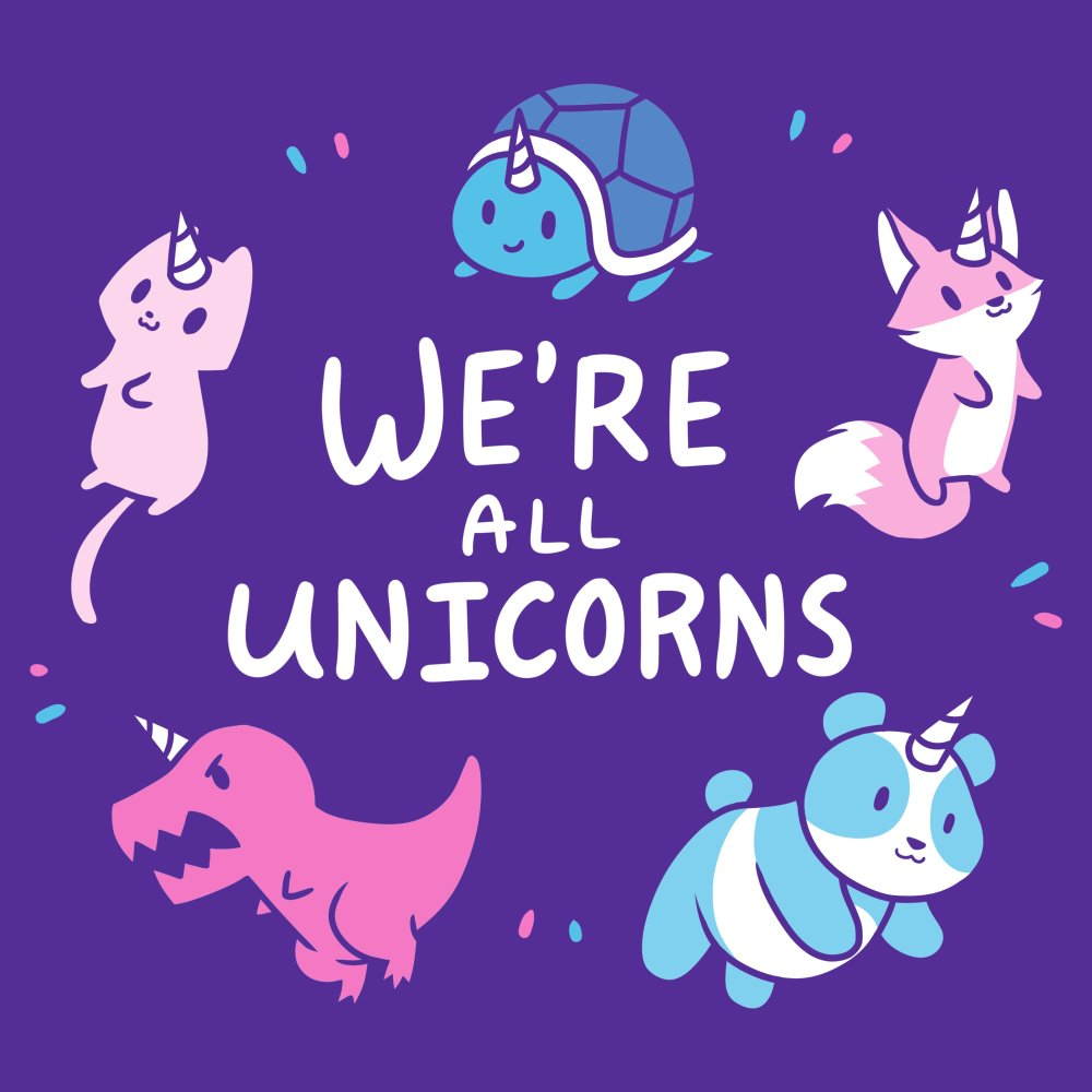 We're All Unicorns T-shirt TeeTurtle purple t-shirt featuring several animals with unicorn horns including a panda, dinosaur, fox, cat, and turtle all surrounding shirt text