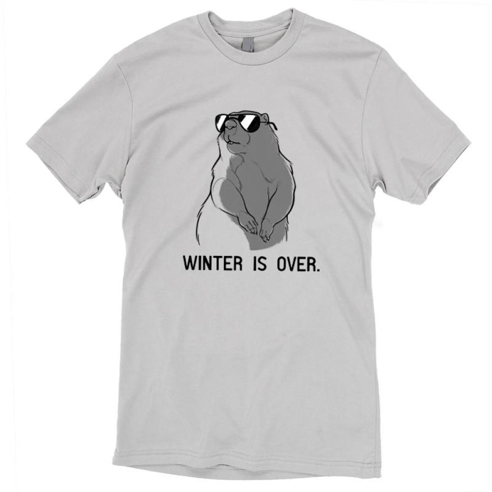Winter is Over T-shirt TeeTurtle gray t-shirt featuring a groundhog wearing sunglasses with shirt text