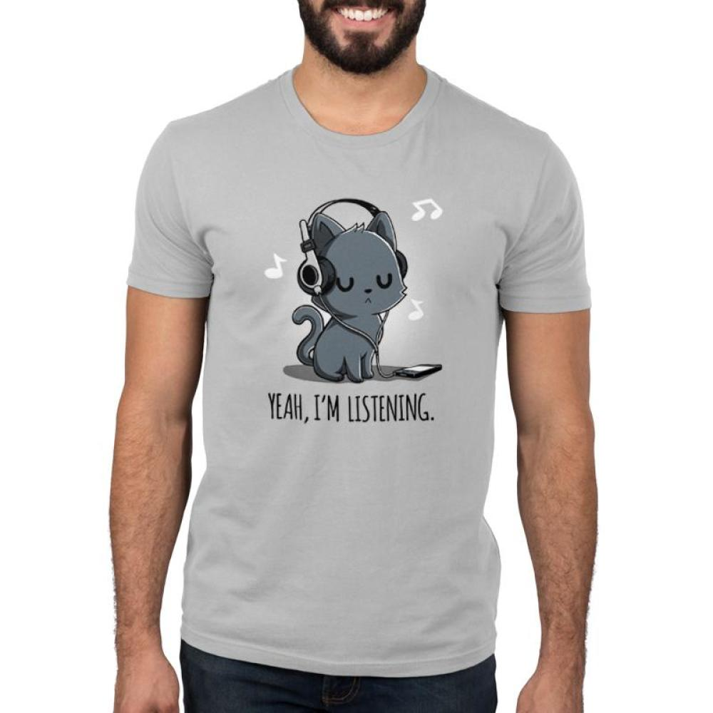 Yeah, I'm Listening Men's T-shirt Model TeeTurtle gray t-shirt featuring a cat wearing headphones with music notes surrounding him and shirt text