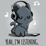 Yeah, I'm Listening T-shirt TeeTurtle gray t-shirt featuring a cat wearing headphones with music notes surrounding him and shirt text
