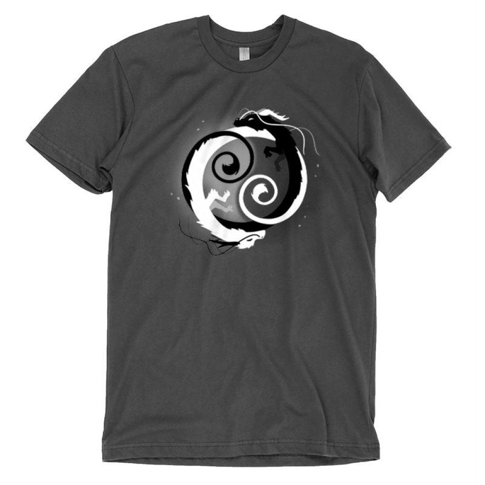 Yin And Yang T-Shirt TeeTurtle gray t-shirt with a yin and yang symbol composed of a black dragon and a white dragon