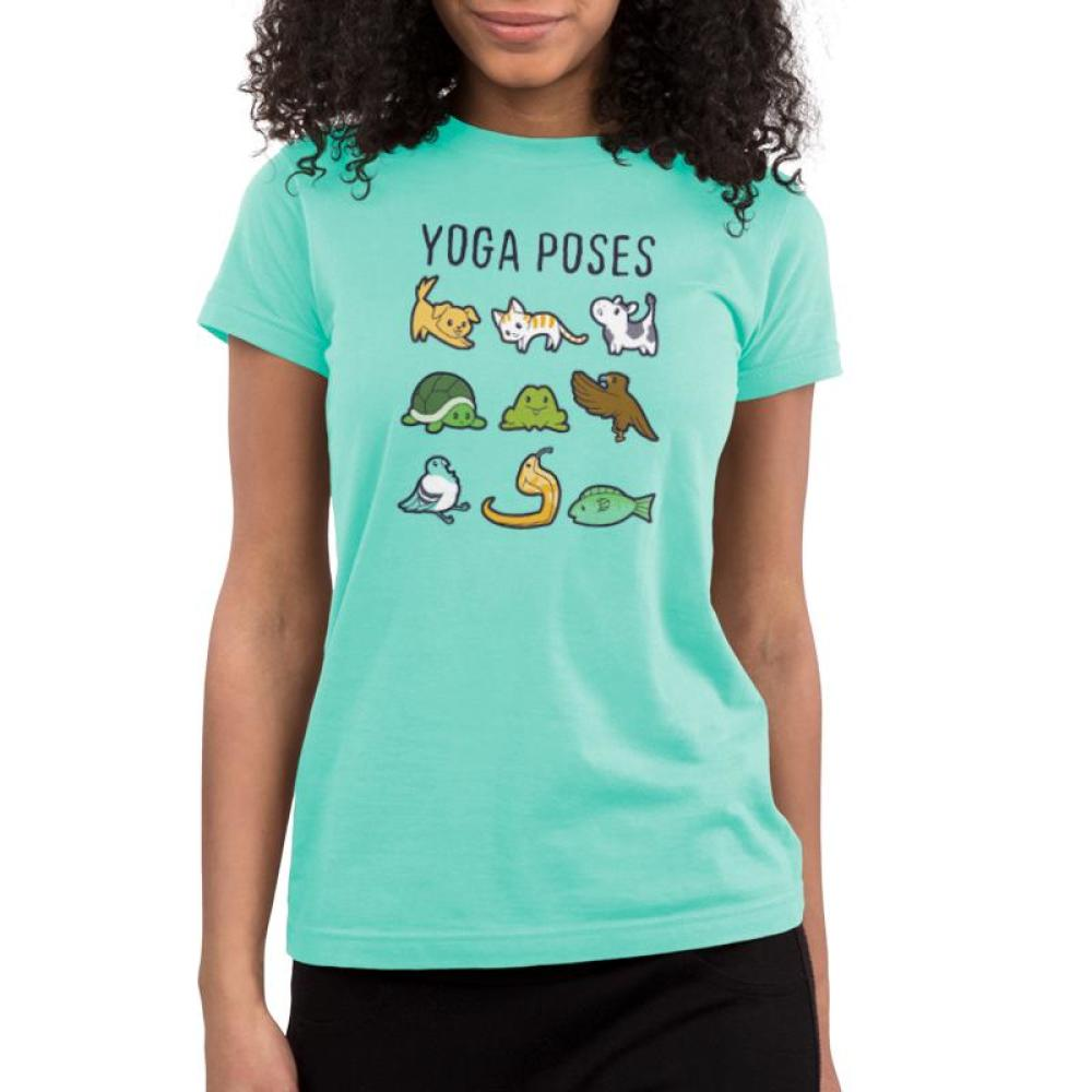 Yoga Poses Juniors T-Shirt Model TeeTurtle Chill Blue t-shirt featuring various animals in different yoga poses with shirt text