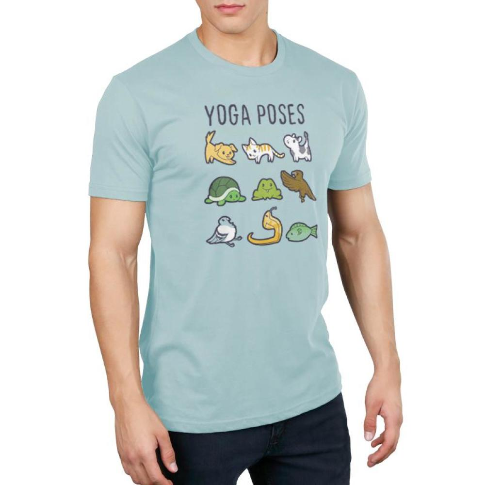 Yoga Poses Men's T-Shirt Model TeeTurtle Light Blue t-shirt featuring various animals in different yoga poses with shirt text