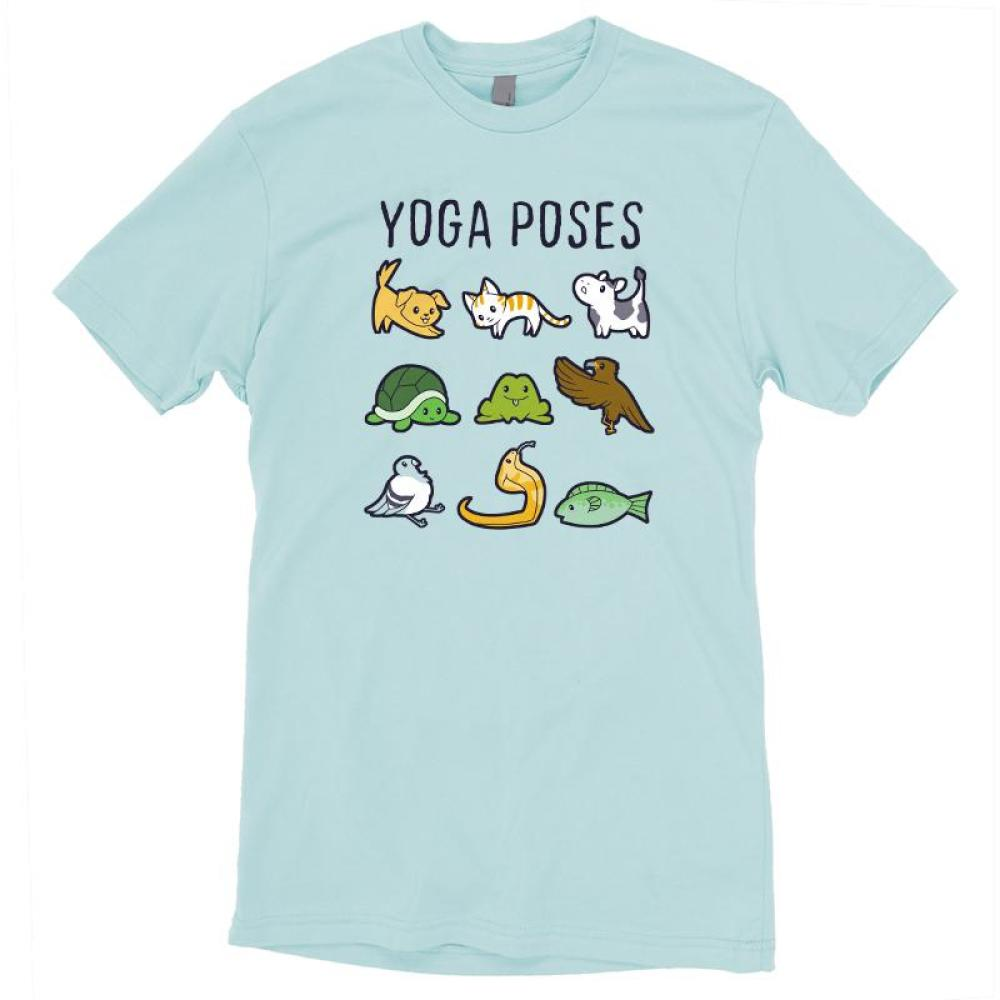 Yoga Poses T-Shirt TeeTurtle Light Blue t-shirt featuring various animals in different yoga poses with shirt text