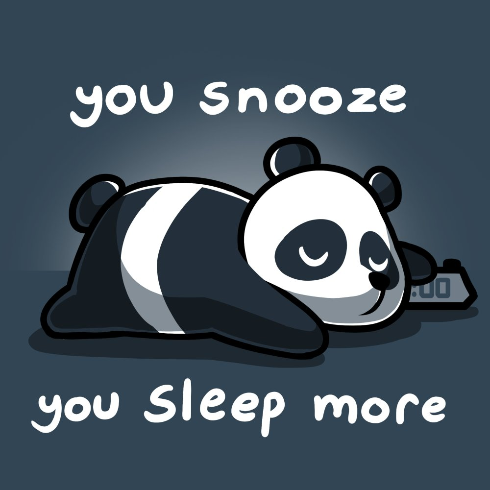 you snooze, you sleep more t-shirt Teeturtle blue t-shirt featuring a sleeping panda with shirt text