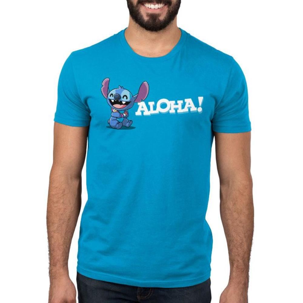 Aloha Stitch Men's T Shirt Model Disney TeeTurtle