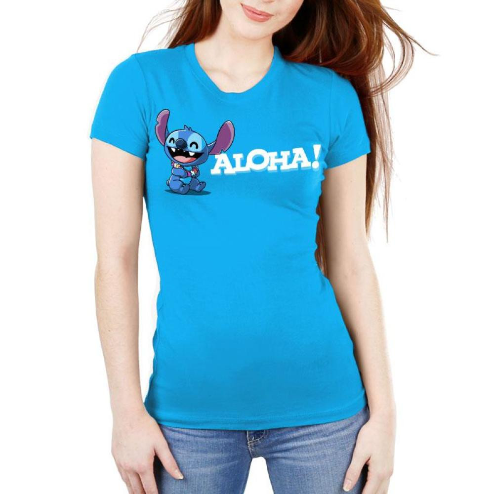 Aloha Stitch Juniors T Shirt Model Disney TeeTurtle