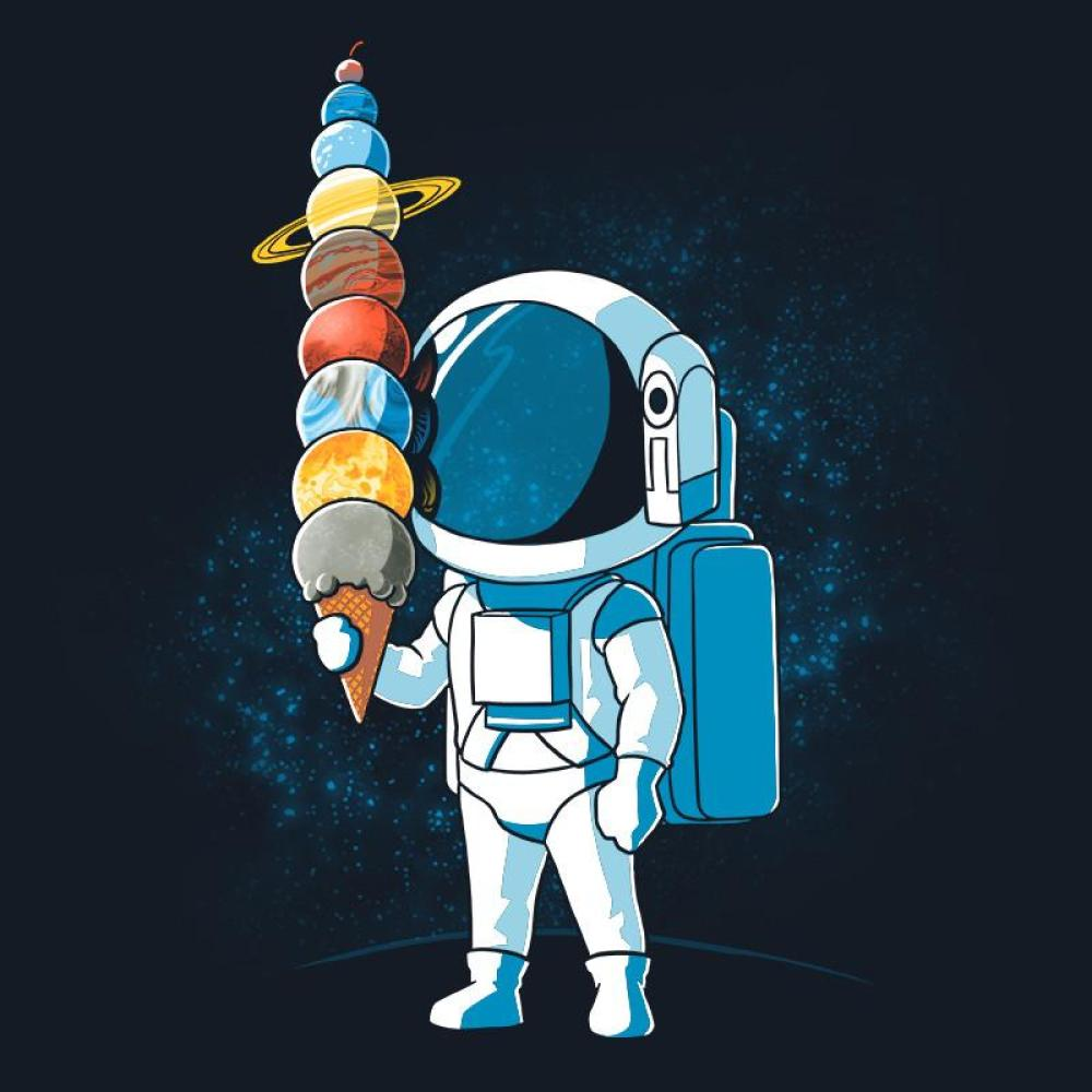 Astronaut Ice Cream t-shirt TeeTurtle blue t-shirt featuring an astronaut holding an ice cream cone with the planets as the ice cream scoops