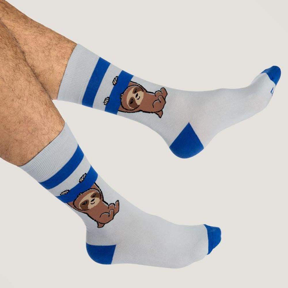 Gray and Blue Athletic Socks Model TeeTurtle