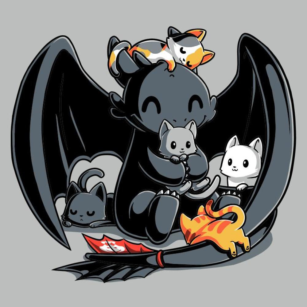 BFFs (Toothless and Cats) T-Shirt How To Train Your Dragon TeeTurtle
