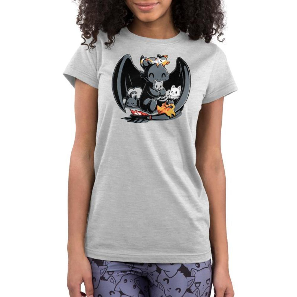 BFFs (Toothless and Cats) Juniors T-Shirt Model How To Train Your Dragon TeeTurtle