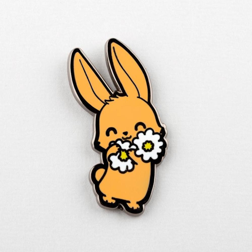 Bunny With Flowers Pin TeeTurtle