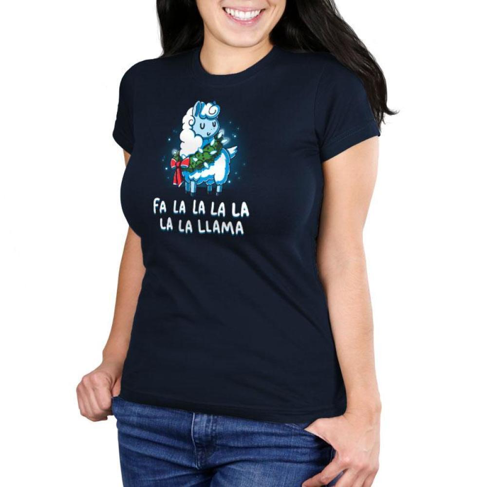 Christmas Llama Women's Ultra Slim T-Shirt Model TeeTurtle