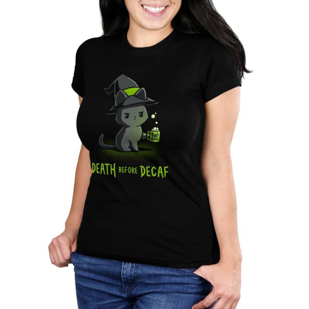 Death Before Decaf Juniors T-Shirt Model TeeTurtle