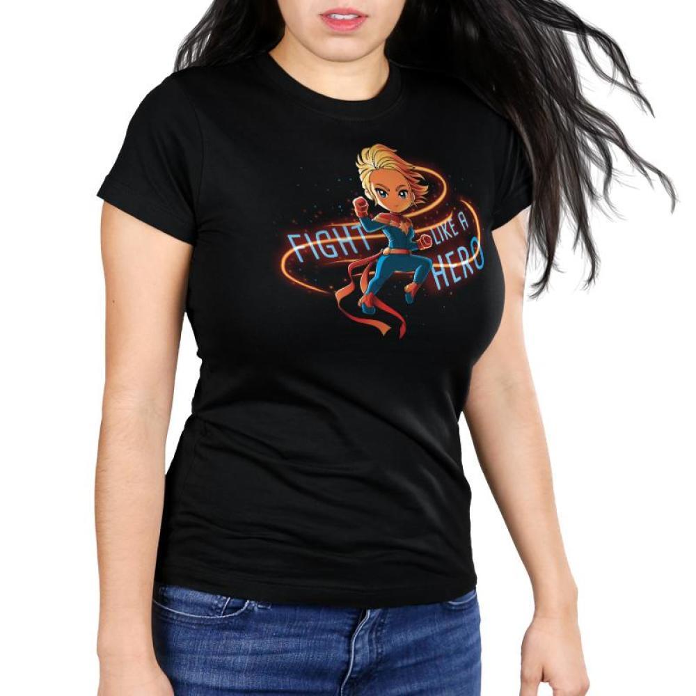 Fight Like a Hero Women's Ultra Slim T-Shirt Model Marvel TeeTurtle