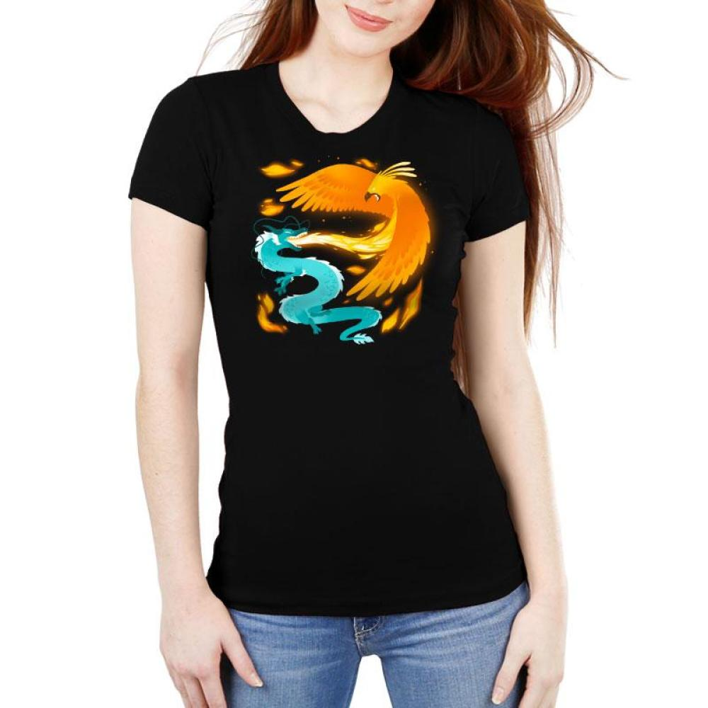 Fire and Ice Women's Ultra Slim T-Shirt Model TeeTurtle