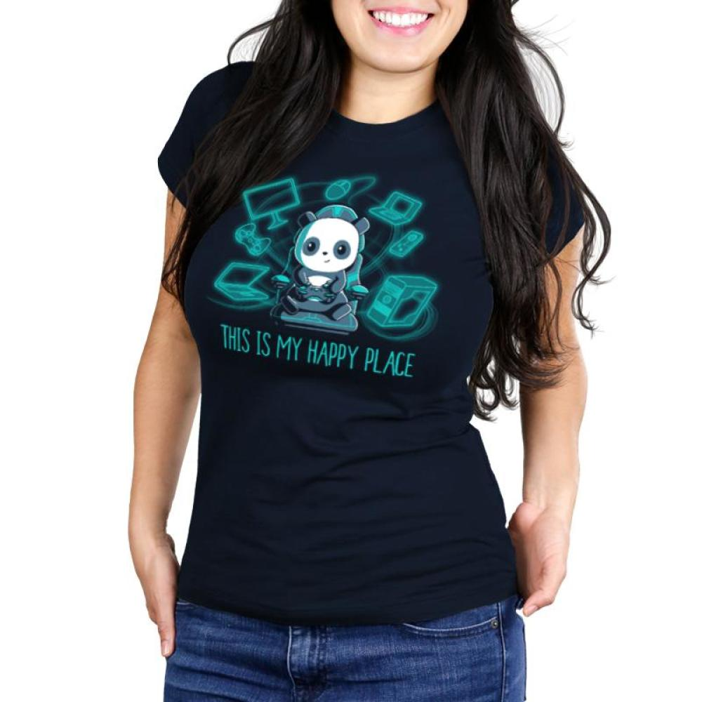 Gaming is My Happy Place Juniors T-Shirt Model TeeTurtle