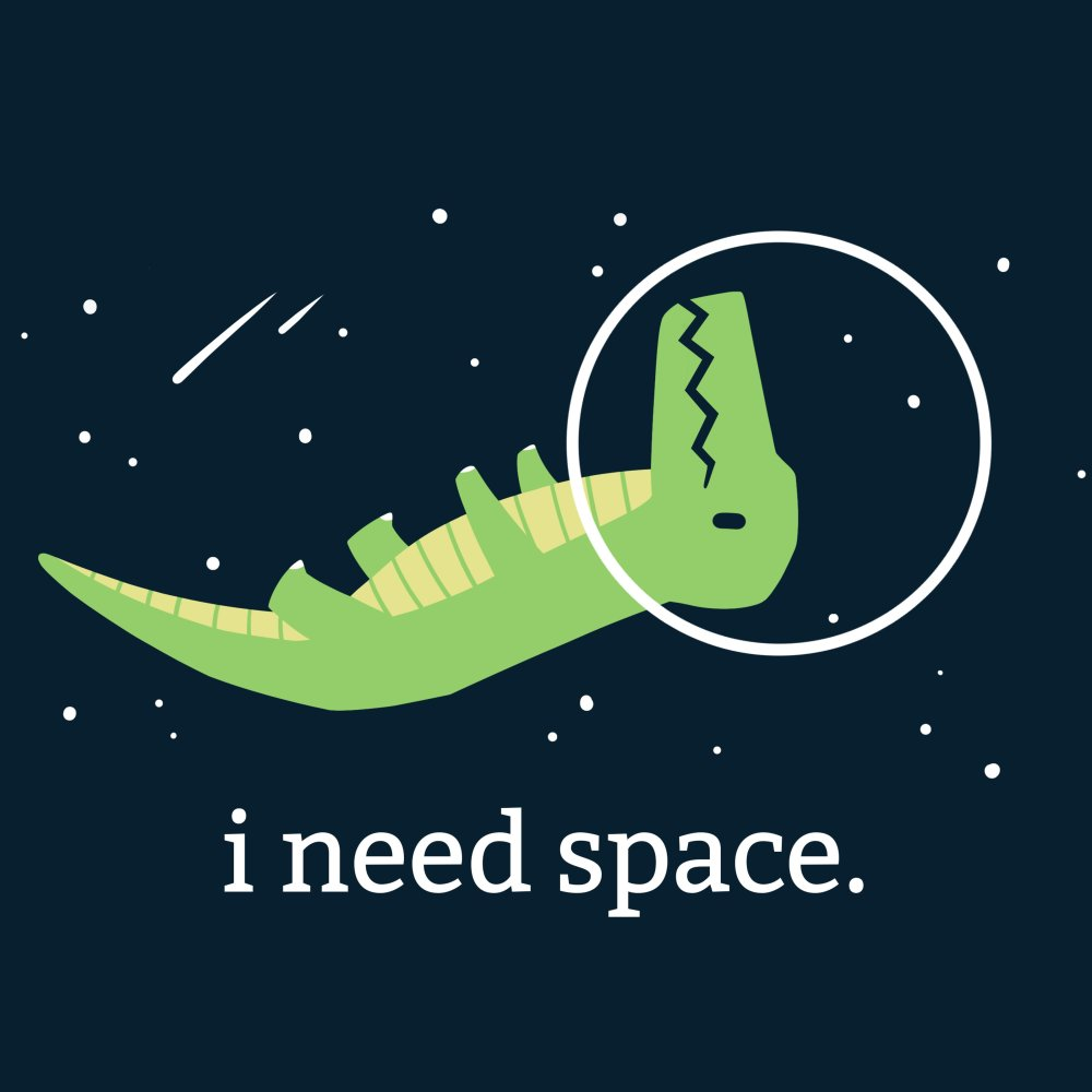 I Need Space T-Shirt TeeTurtle black t-shirt with a green dinosaur wearing a helmet floating upside in space with shirt text