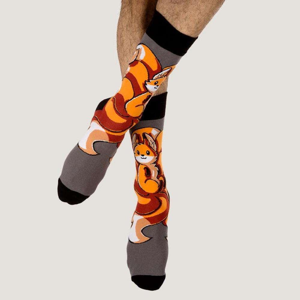 Dark Gray Kitsune Socks Model TeeTurtle