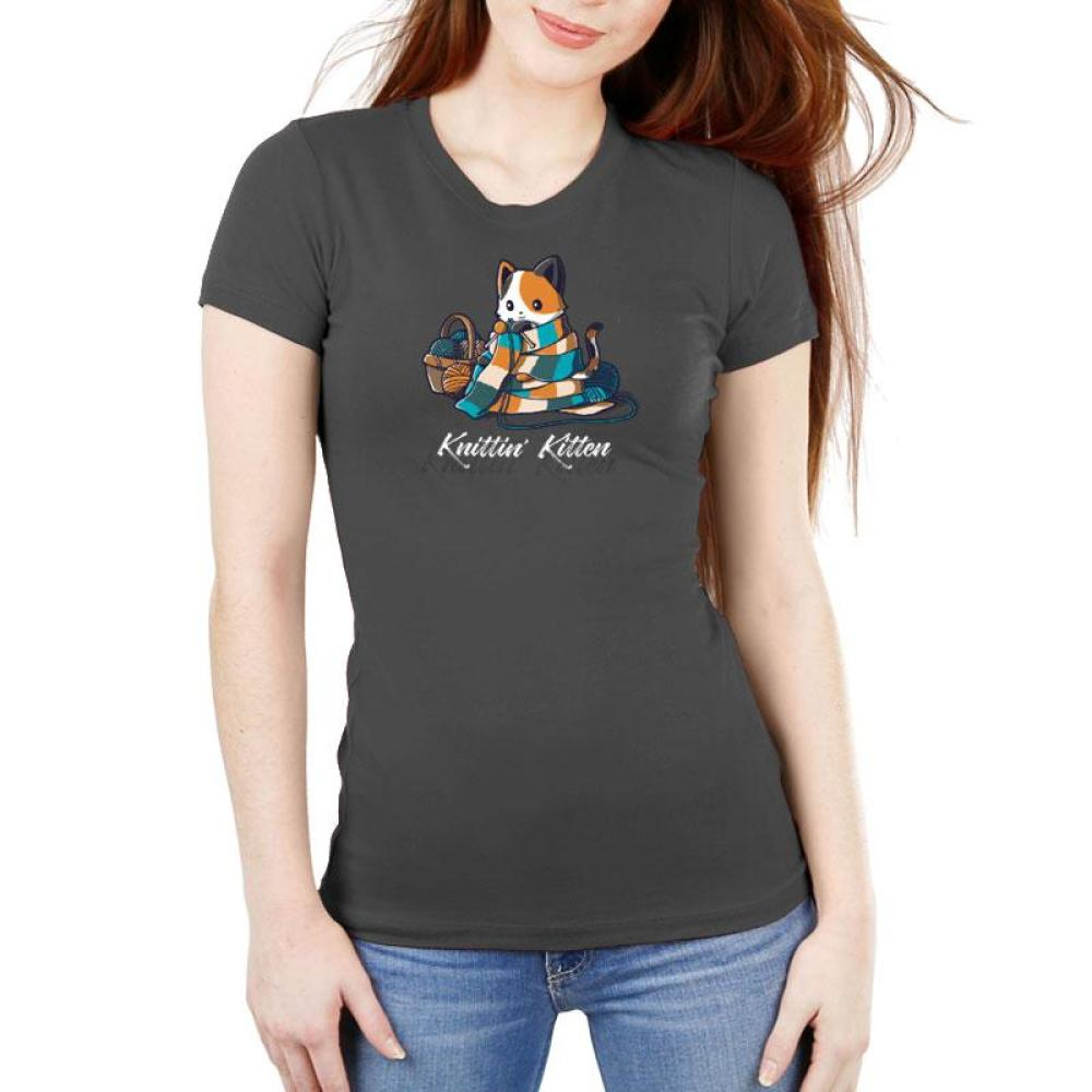Knittin' Kitten Women's Ultra Slim T-Shirt Model TeeTurtle