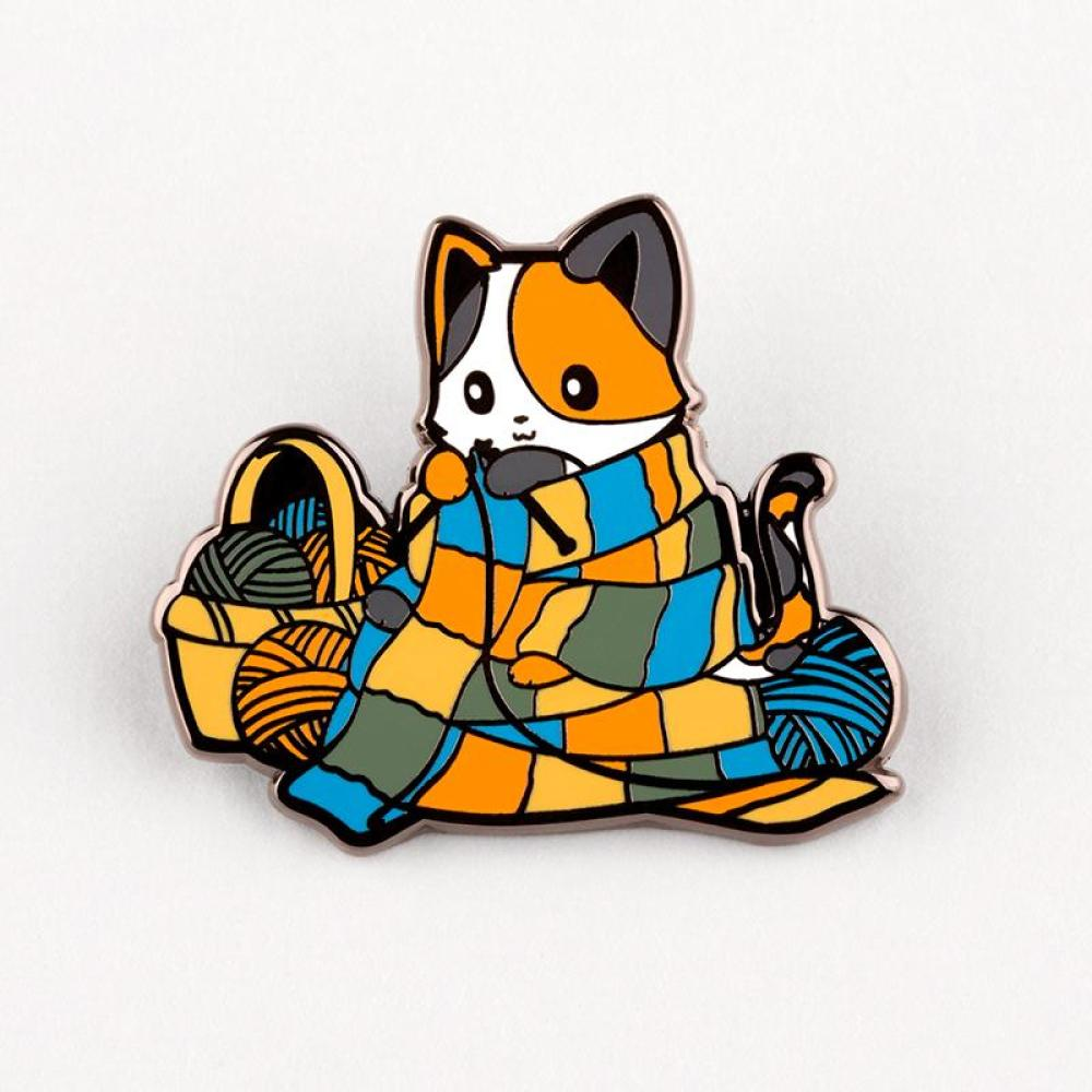 Knittin' Kitten Pin TeeTurtle