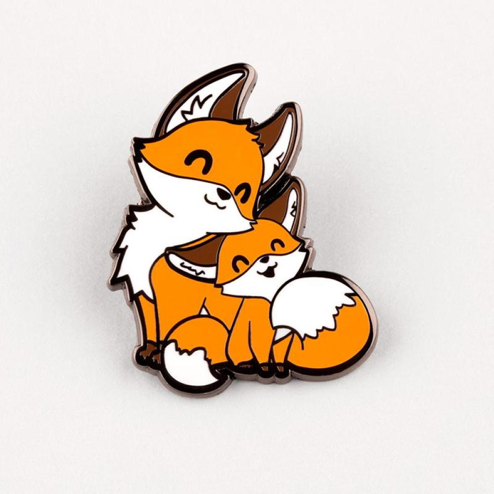 Mama & Baby Fox Charm Pin TeeTurtle