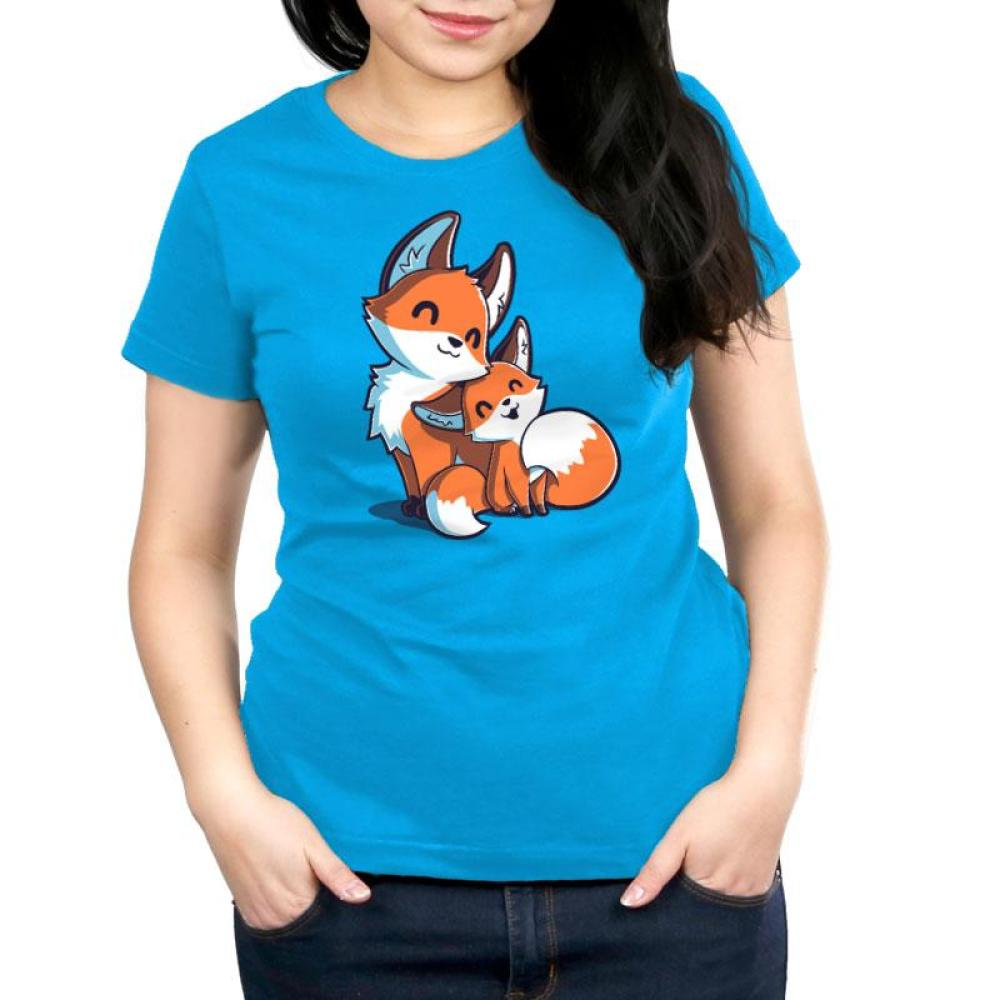 Mama & Baby Fox Women's Relaxed Fit T-Shirt Model TeeTurtle