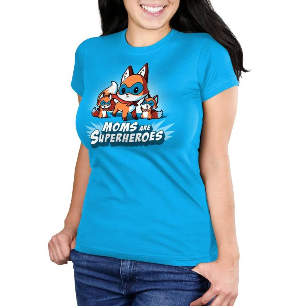 Moms Are Superheroes Juniors T-Shirt Model TeeTurtle