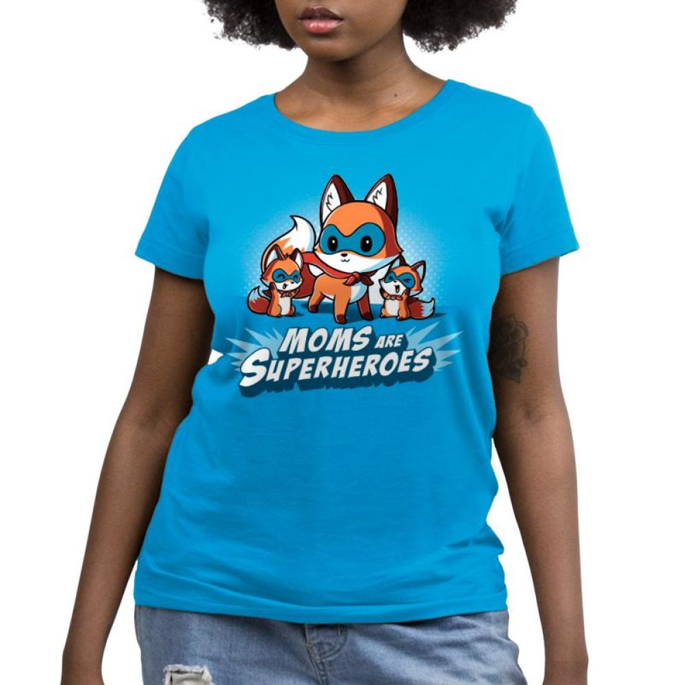 Moms Are Superheroes Women's T-Shirt Model TeeTurtle