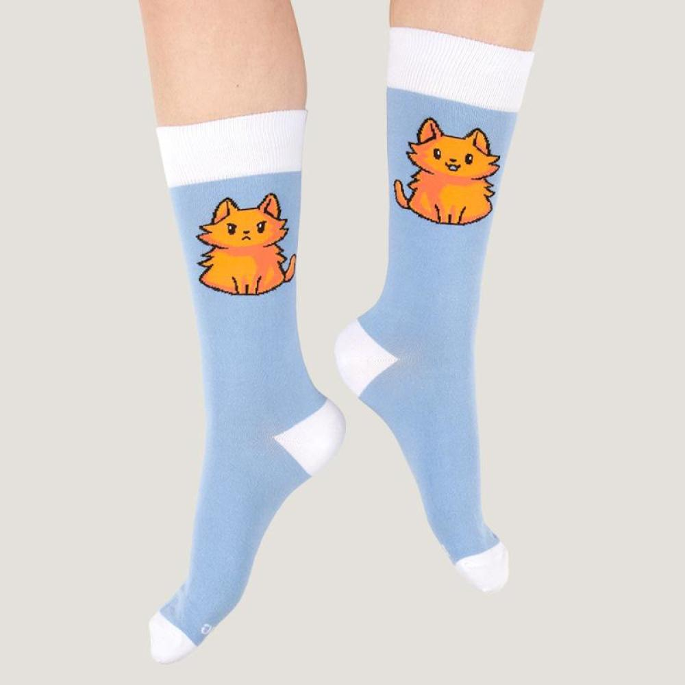 Light Blue Moody Cat Socks Model TeeTurtle
