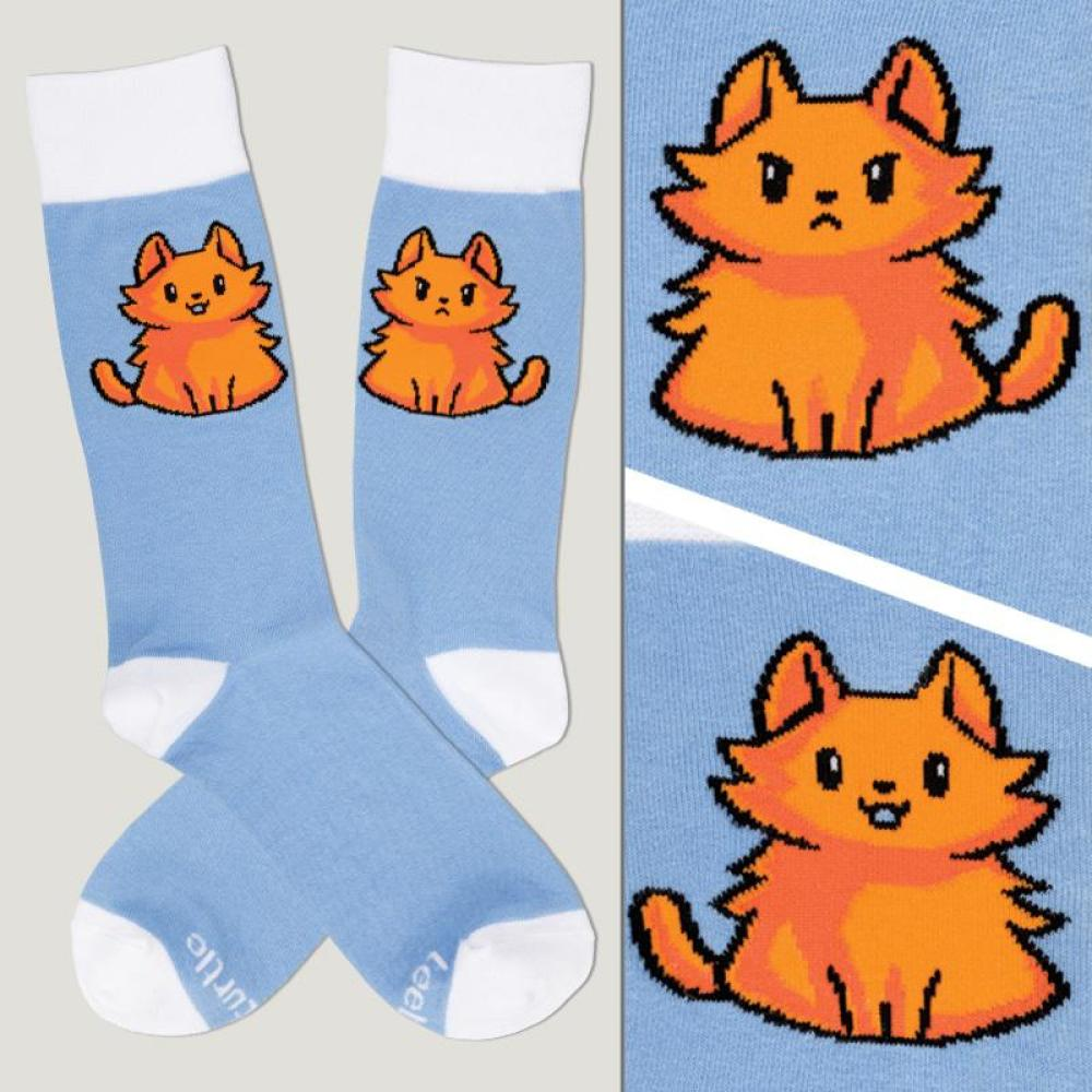Light Blue Moody Cat Socks TeeTurtle