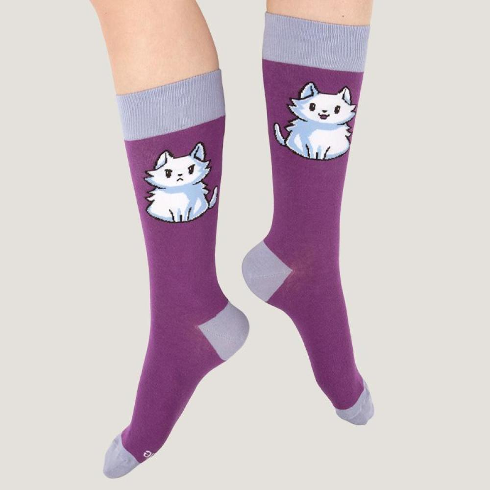 Purple Moody Cat Socks Model TeeTurtle