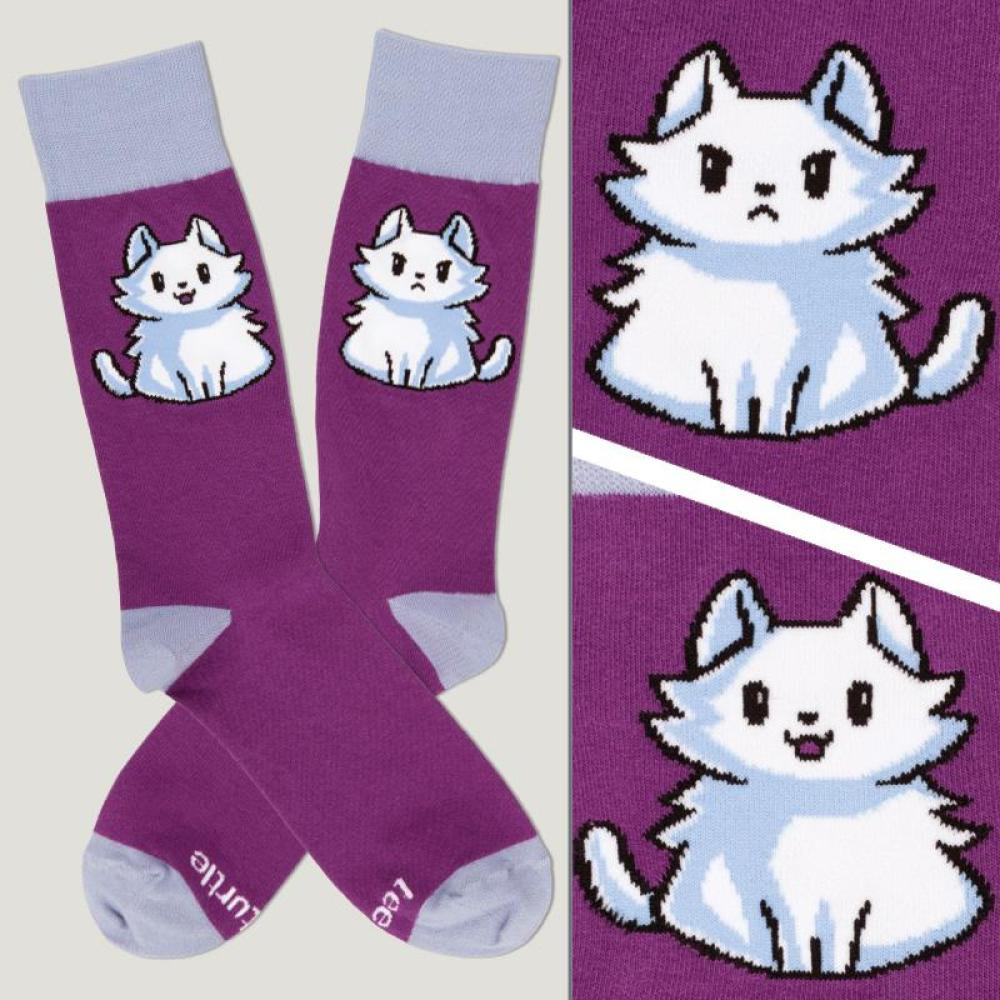 Purple Moody Cat Socks TeeTurtle