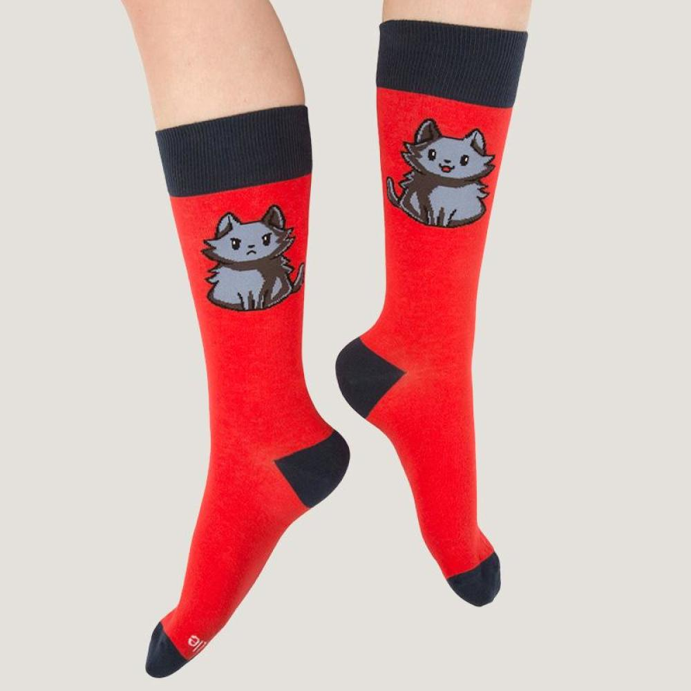 Red Moody Cat Socks Model TeeTurtle