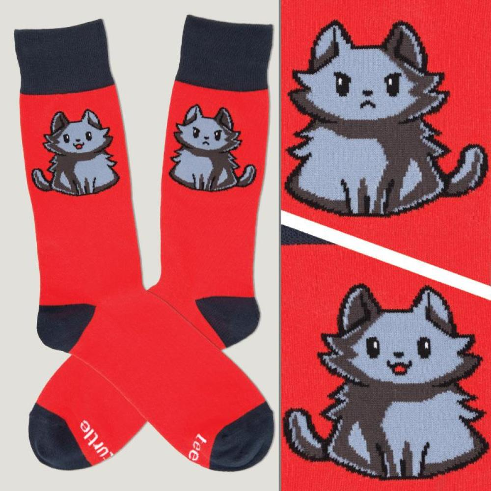 Red Moody Cat Socks TeeTurtle