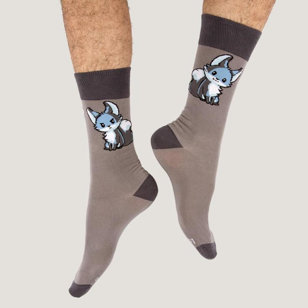 Gray Moody Fox Socks Model TeeTurtle