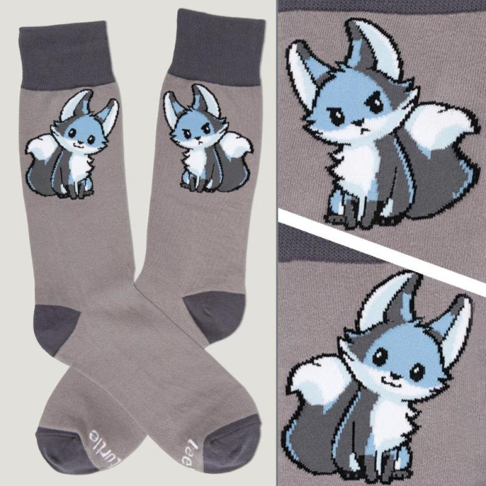 Gray Moody Fox Socks TeeTurtle