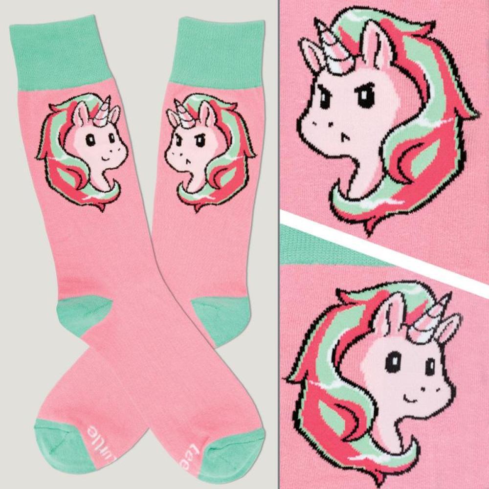 Pink Moody Unicorn Socks TeeTurtle