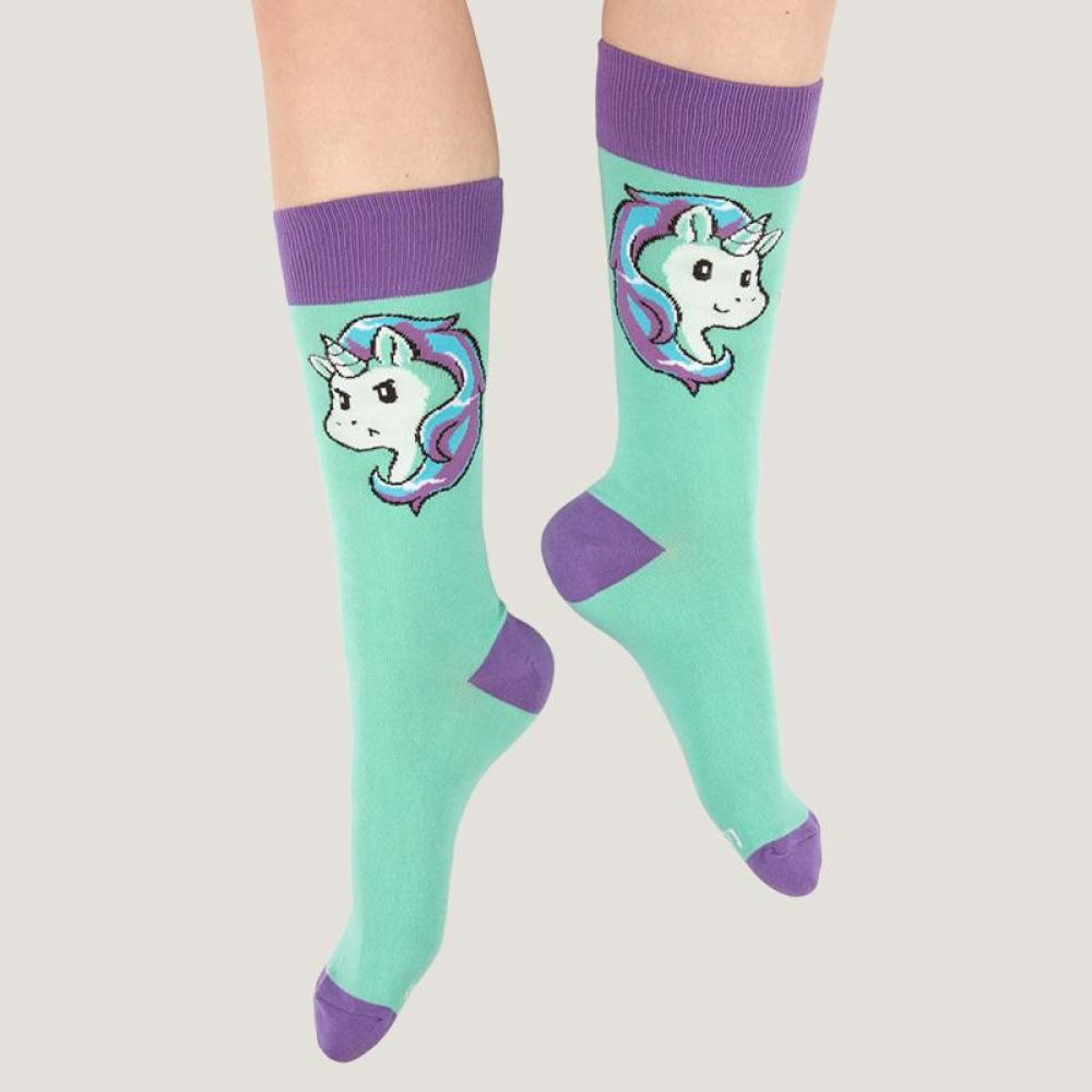 Teal Moody Unicorn Socks Model TeeTurtle