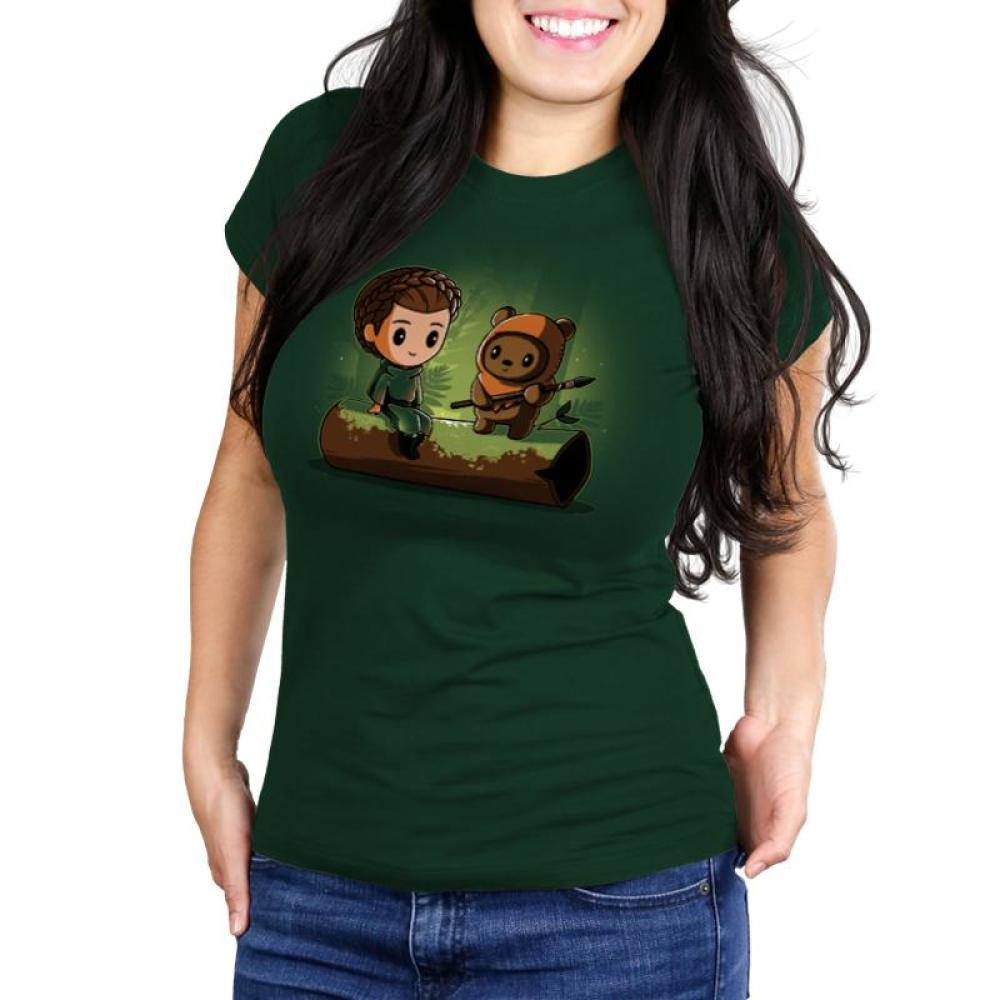 Princess Leia and Wicket the Ewok Juniors T-Shirt Model Star Wars TeeTurtle