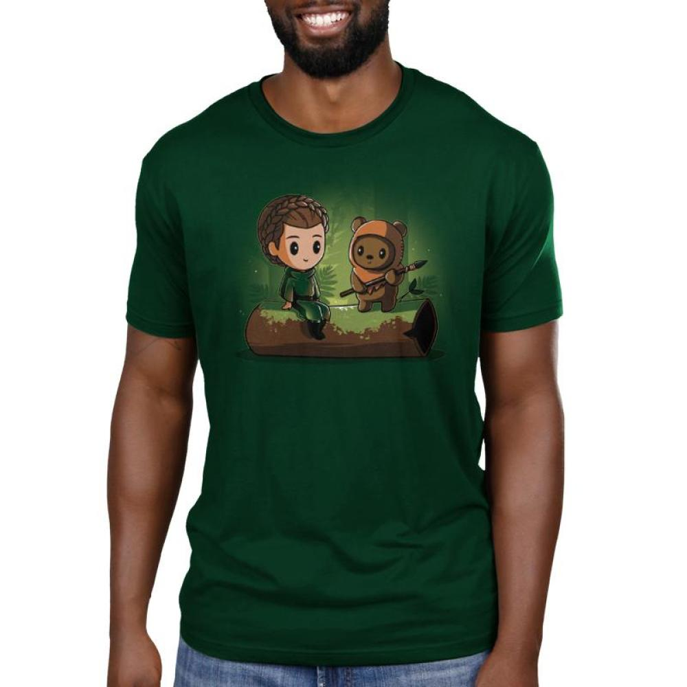 Princess Leia and Wicket the Ewok Men's T-Shirt Model Star Wars TeeTurtle