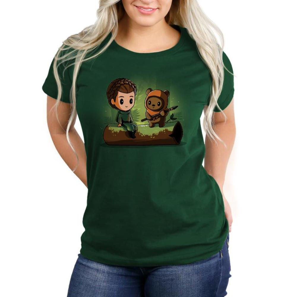 Princess Leia and Wicket the Ewok Women's T-Shirt Model Star Wars TeeTurtle