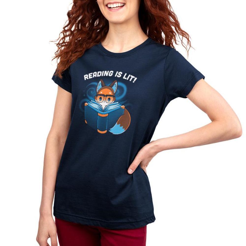 Reading Is Lit Women's T-Shirt Model TeeTurtle