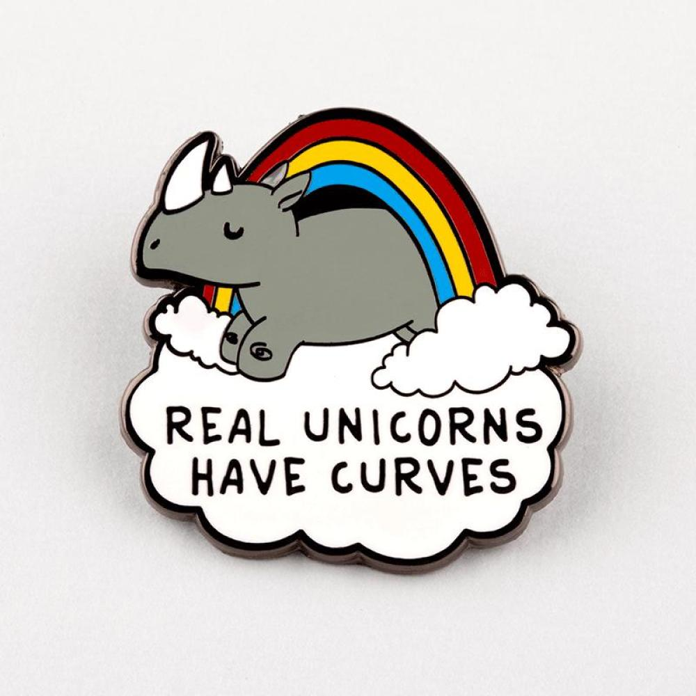Real Unicorns Have Curves Pin TeeTurtle