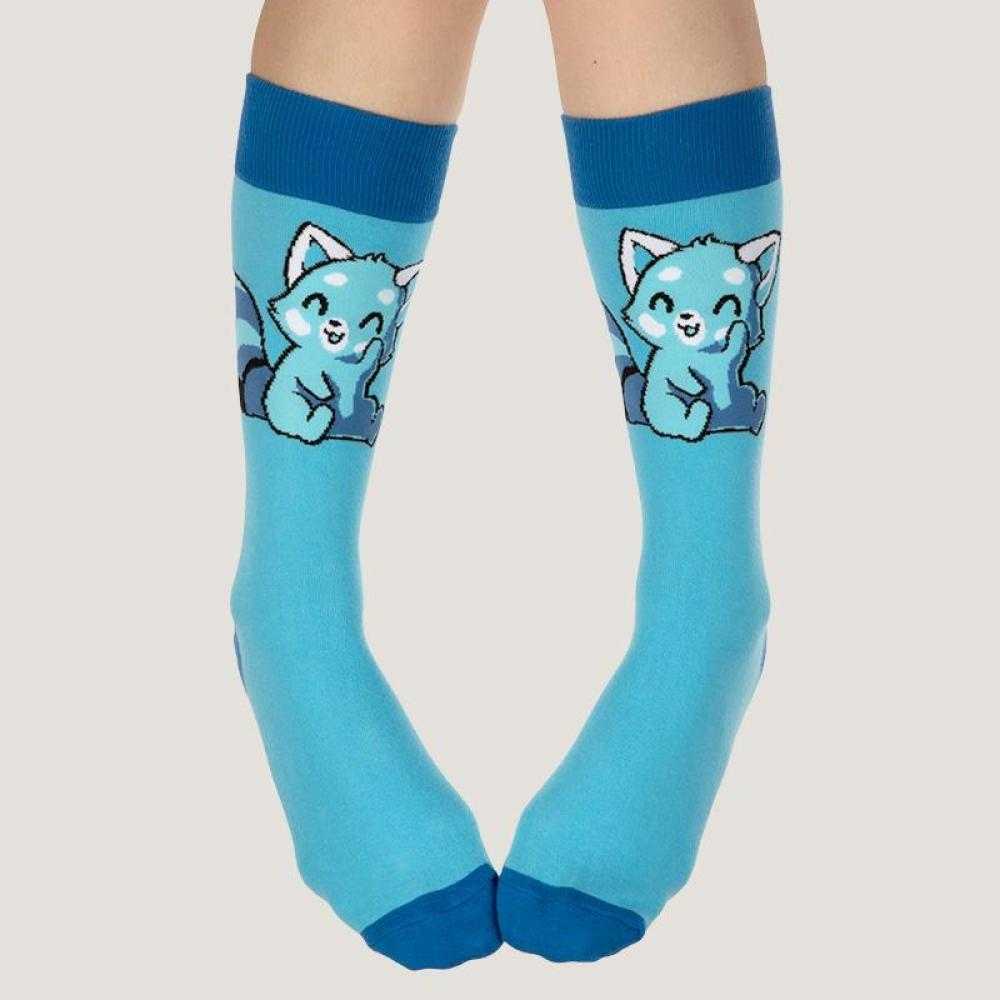 Light Blue Red Panda Socks Model TeeTurtle